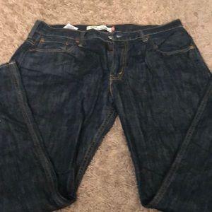 Levi dark wash loose straight jeans